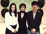 Enya with Nakama Yukie and Rio Kase of TV drama series Arifureta Kiseki