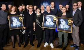 Enya receiving a Gold Award for Dark Sky Island sales; Berlin; April 2016